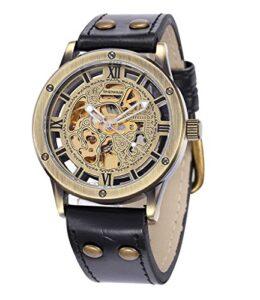 Hombress-Mecnico-Automtico-Reloj-Steampunk-Esqueleto-Banda-De-Cuero-Dial-MW-161-0
