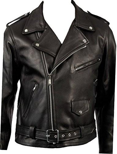 Clsico-Negro-de-cuero-real-Brando-motorista-de-la-motocicleta-chaqueta-de-piel-de-la-vaca-de-los-hombres-0