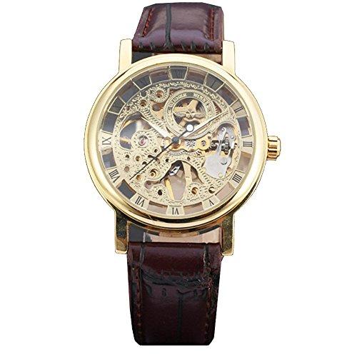 Reloj-de-pulsera-de-oro-de-la-humanidad-por-la-UNESCO-vestido-esqueleto-mecnico-de-Steampunk-de-la-mano-del-viento-de-color-marrn-oscuro-de-la-correa-de-la-PU-0