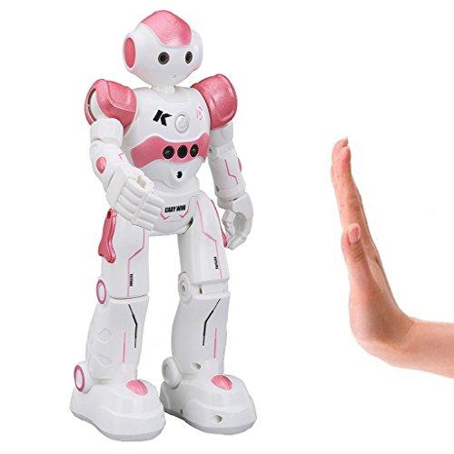 Virhuck-R2-Robots-de-Radiocontrol-Robots-de-Programacin-Inteligente-Sensacin-de-Gestos-Bailando-Cantando-Caminando-Robotica-para-Nios-con-500mAh-de-Batera-Recargable-Azul-Rosa-Gris-0