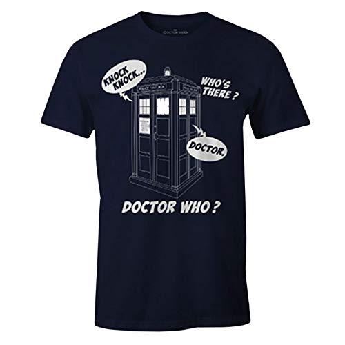 Camiseta-para-Hombre-Doctor-Who-Tardis-Knock-Knock-Cotton-Blue-M-0