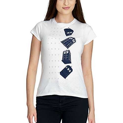 Doctor-Who-Twisting-Tardis-Camiseta-Mujer-Blanco-M-0