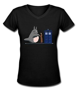 JOHNGBS-Mujer-Totoro-y-Doctor-Who-Police-Box-Custom-Retro-Camisetas-por-0