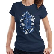 Police-Box-Tardis-Walking-Doctor-Who-Womens-T-Shirt-0