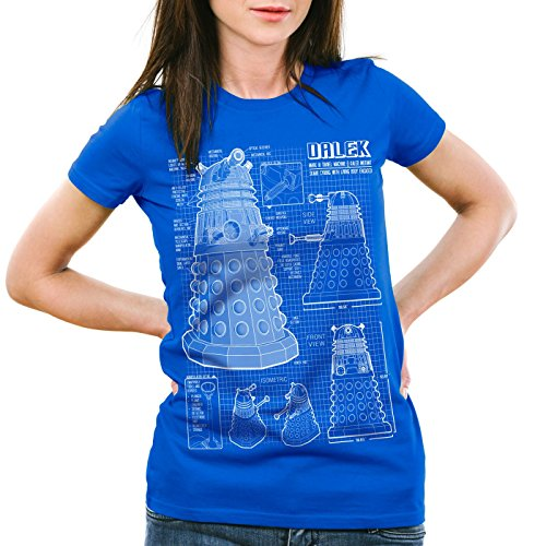 style3-Dalek-Cianotipo-Camiseta-para-Mujer-T-Shirt-Who-Time-Police-Doctor-Box-Space-dr-ColorAzul-TallaM-0